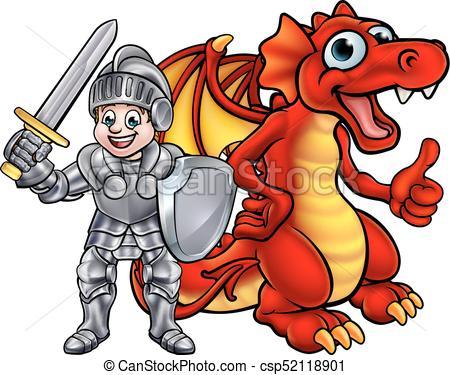 Cartoon Dragon and Knight.
