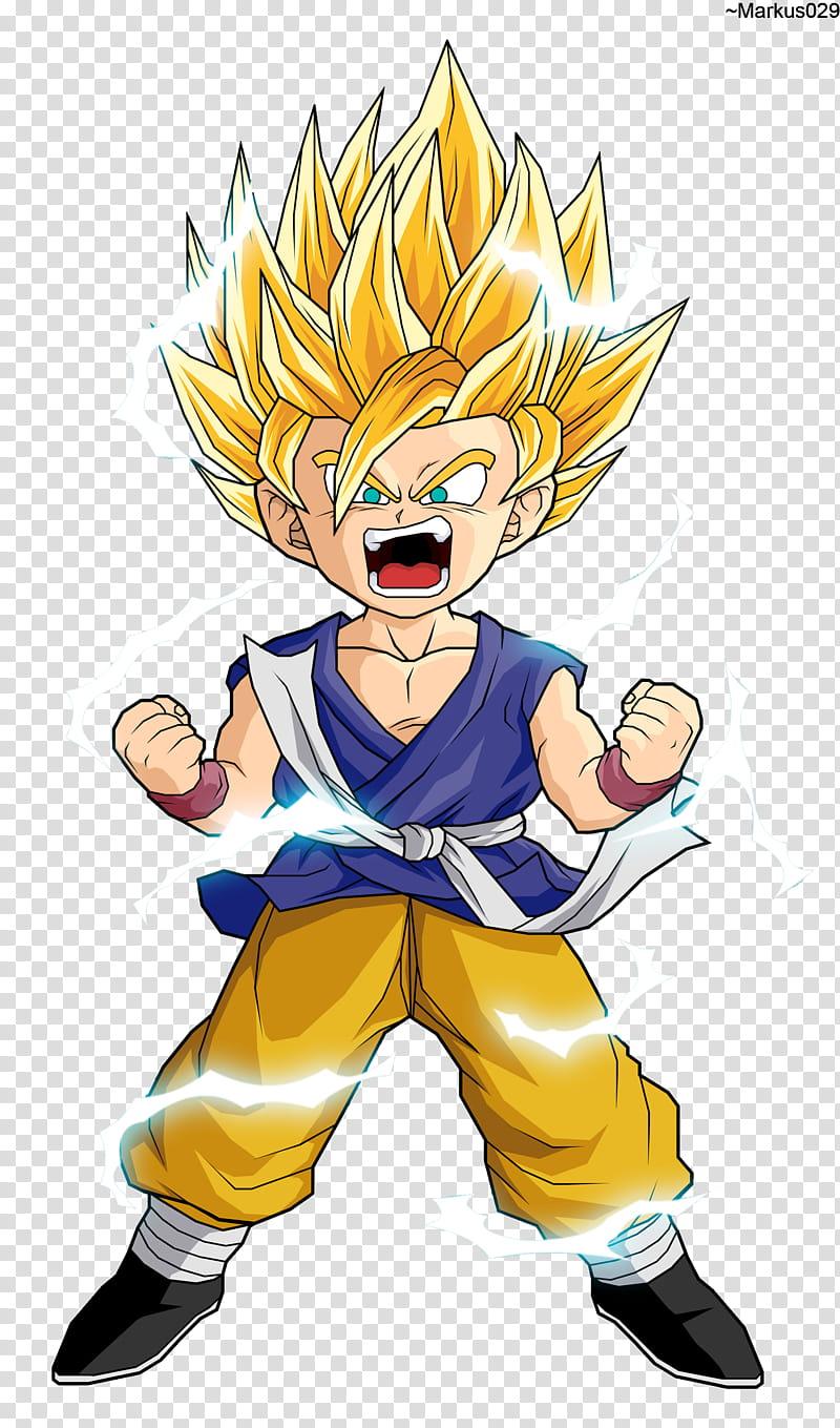 Dragon Ball GT Kid Goku SSJ transparent background PNG.