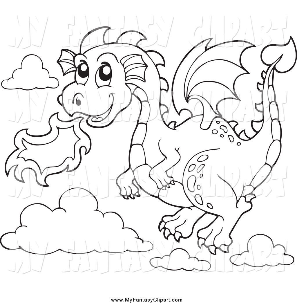 Clip Art Of A Black And White Flying Fire Breathing Dragon.