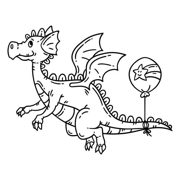 Best Clip Art Of Black White Dragon Illustrations, Royalty.