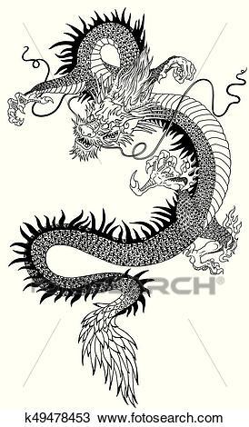 Chinese dragon black white Clipart.