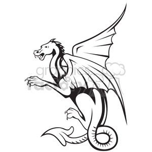 black and white big dragon side clipart. Royalty.