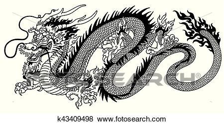 Chinese dragon black white Clip Art.