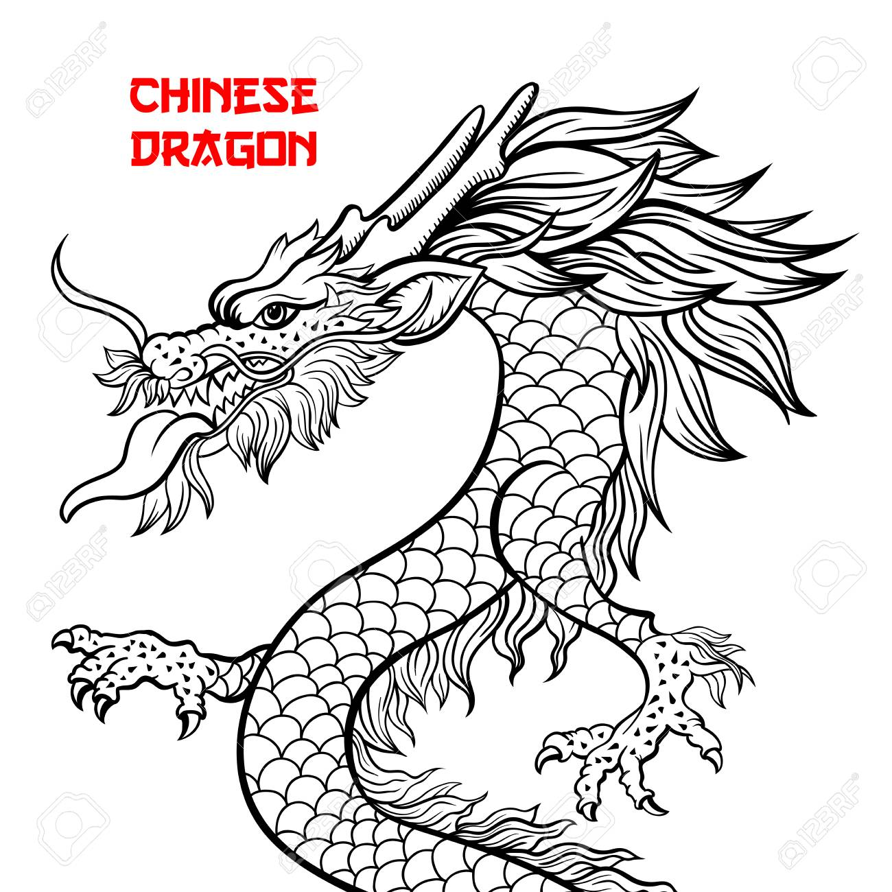 Chinese dragon hand drawn vector illustration. Mythical creature...