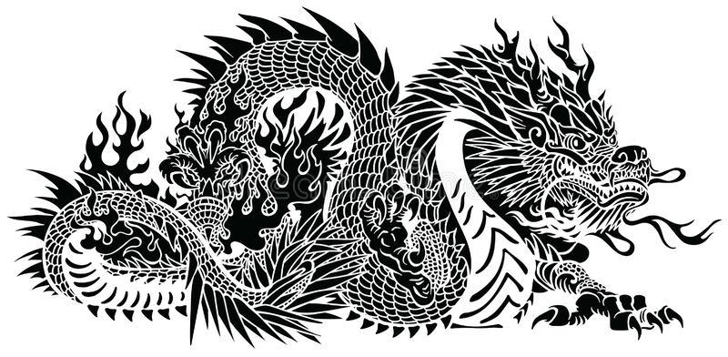 Black White Chinese Dragon Stock Illustrations.