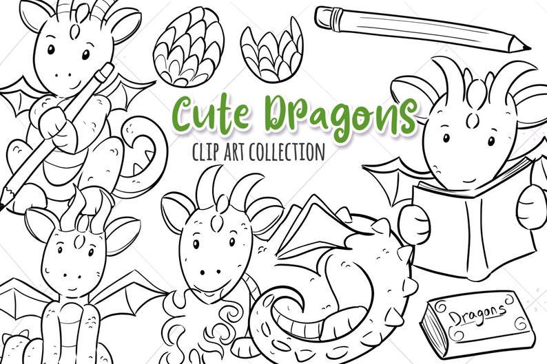Cute Dragon Black and White Clipart, Magical Dragon Coloring, Kawaii Dragon  Clipart, Dragon Illustrations, Cute Dragon Art.