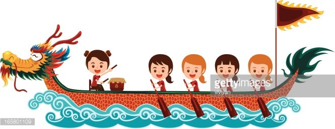 Chinese Dragon Boat Racing Festival With Girl Team premium clipart.
