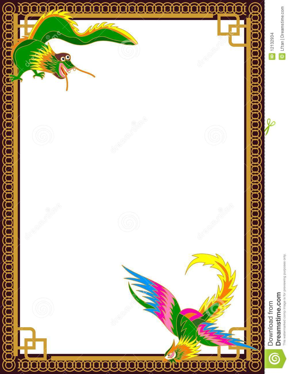 Dragon Phoenix Border stock vector. Illustration of pattern.