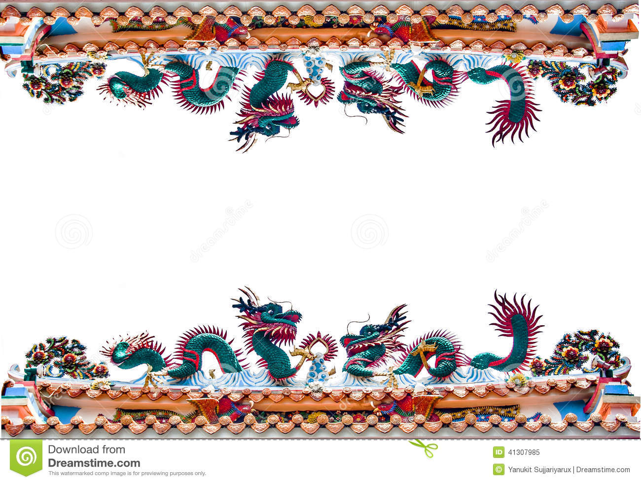 Border Dragon Architexture Figure Stock Image.