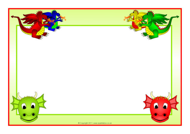 Dragons A4 Page Borders (SB4886).