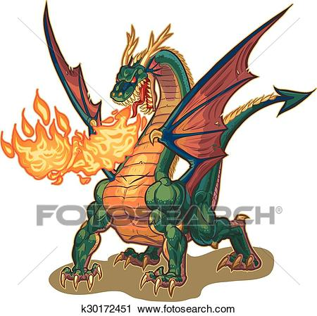 Muscular Dragon Breathing Fire Vect Clipart.