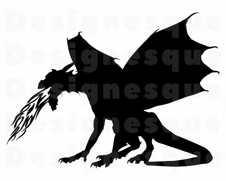 Fire Breathing Dragon Svg, Dragon Svg, Dragon Clipart, Dragon Files for  Cricut, Dragon Cut Files For Silhouette, Dragon Dxf, Png, Eps Vector.