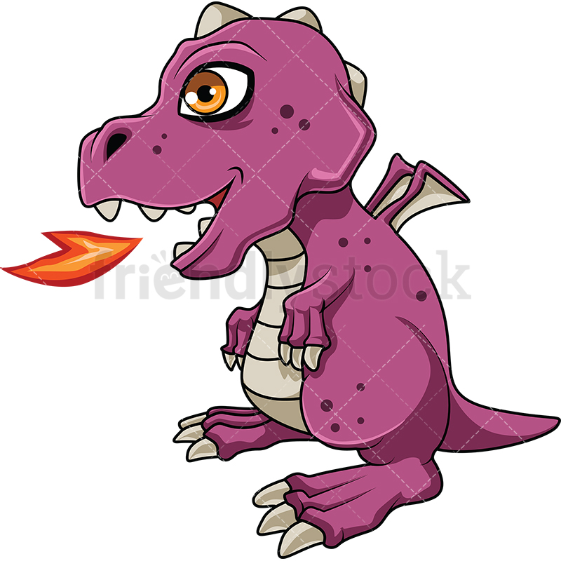 Baby Dragon Breathing Fire Cartoon Vector Clipart.
