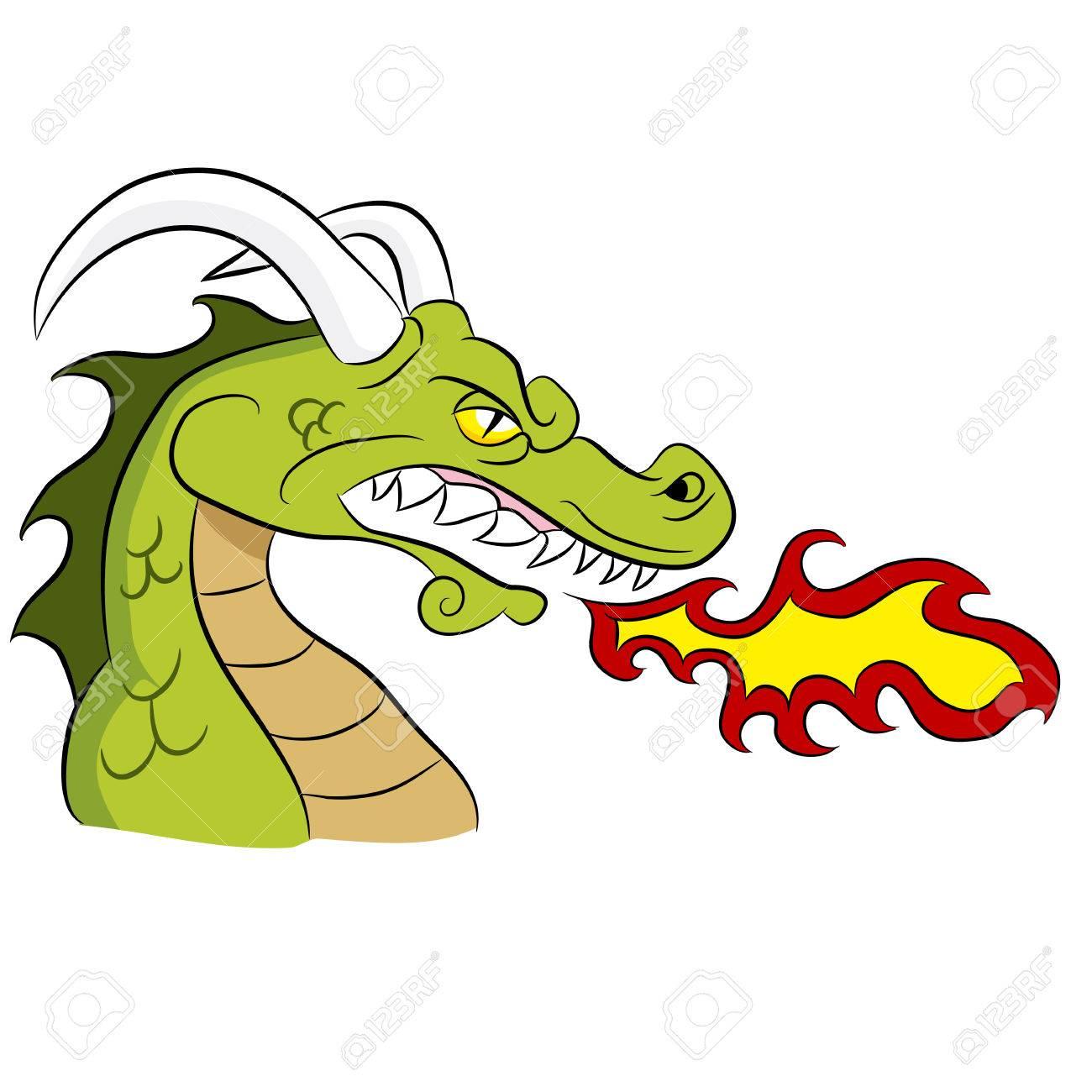 Cartoon fire breathing dragon..