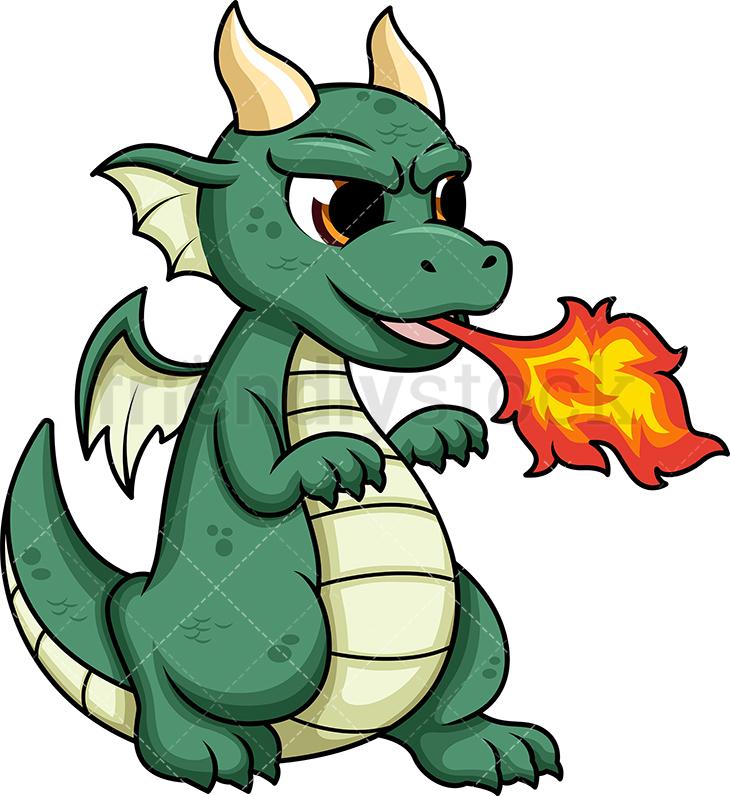 Cute Dragon Breathing Fire.