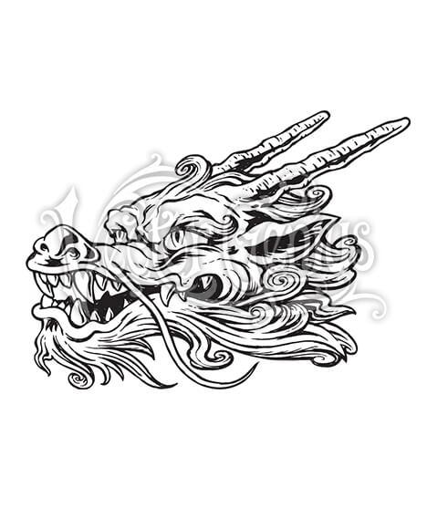 Hand Drawn Chinese Dragon Tattoo Clip Art.