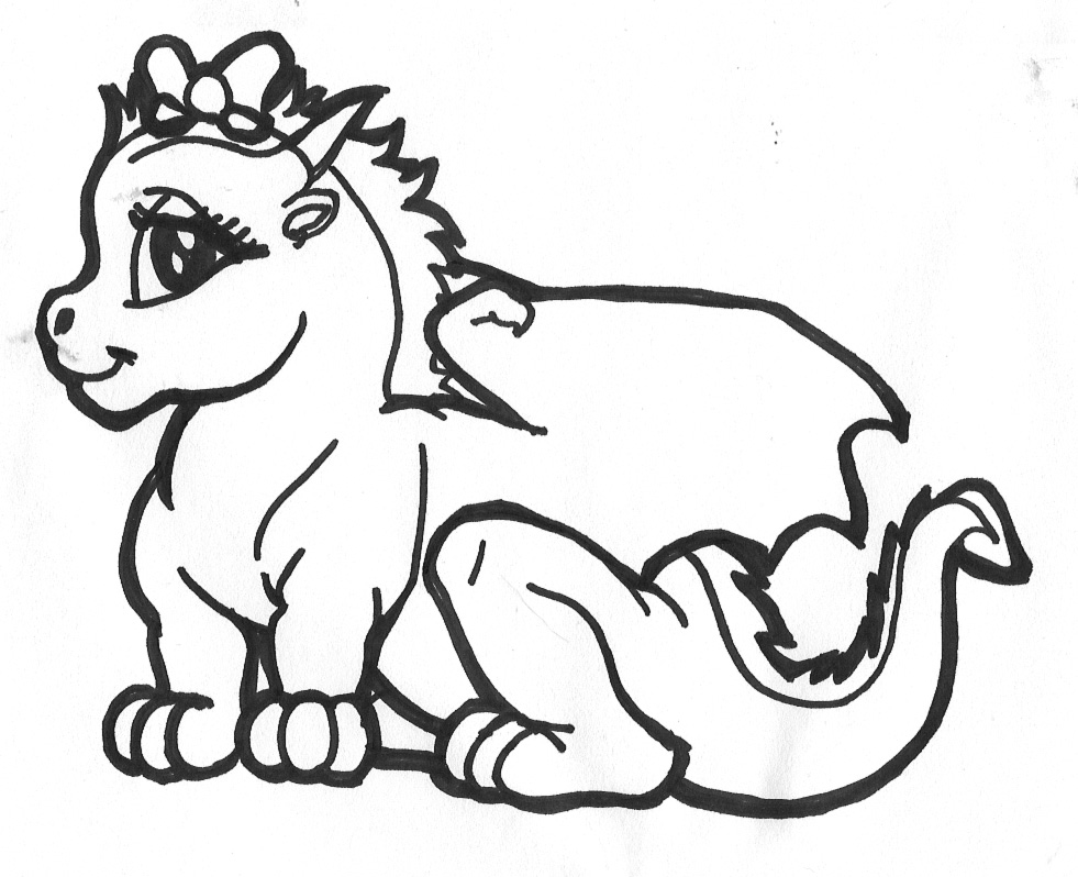 dragon clipart black and white for kids #11