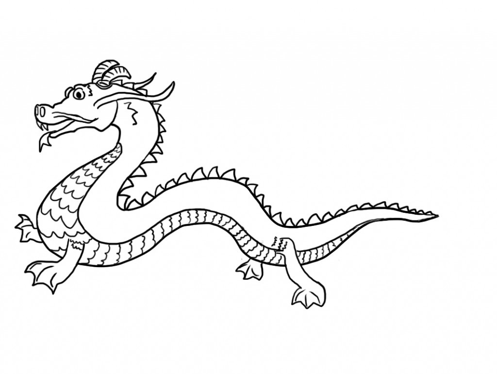 Chinese Dragon Outline With Chinese Head Clipart Black And White.