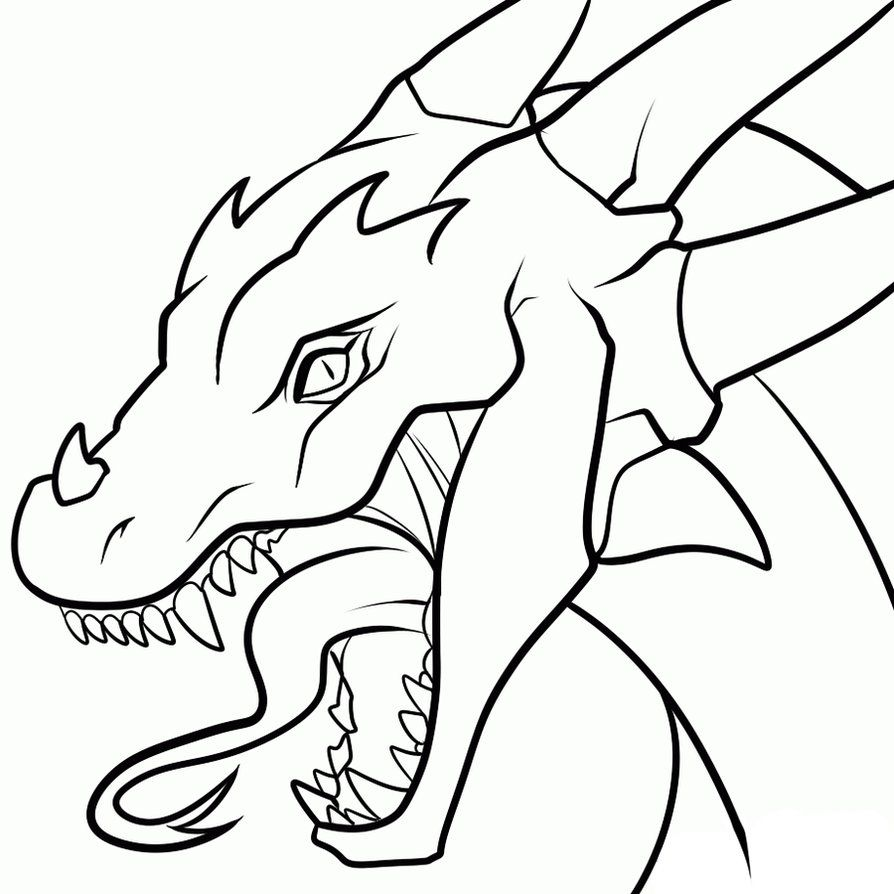 Drawings Of Dragons Heads.
