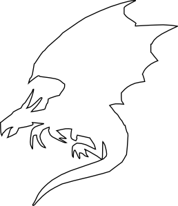 Flying Dragon outline clip art.