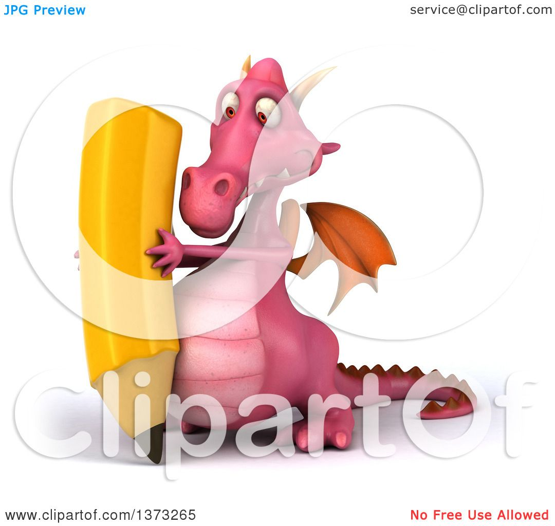 Clipart of a 3d Pink Dragon Using a Pencil, on a White Background.
