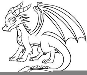 Simple Black Dragon Clipart Image.