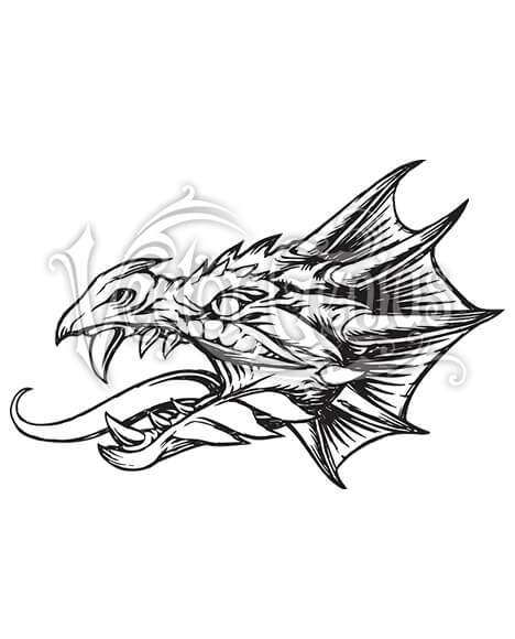 Detailed Dragon Face Tattoo ClipArt.
