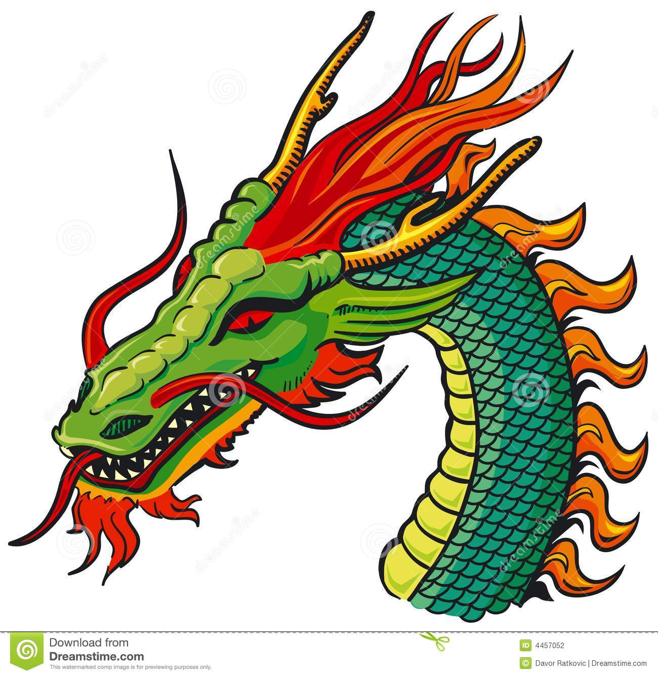 Dragon head color stock vector. Illustration of claws.