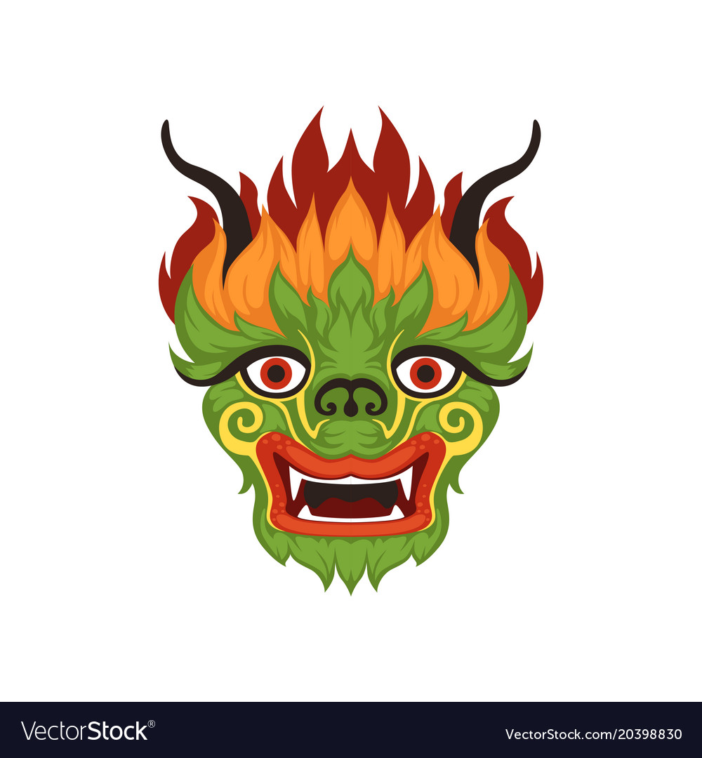 Chinese dragon face colorful symbol of.