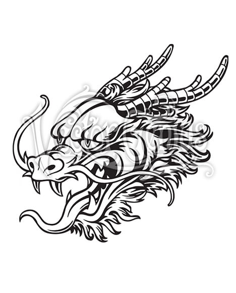 Chinese Dragon Face Tattoo Vector Art.