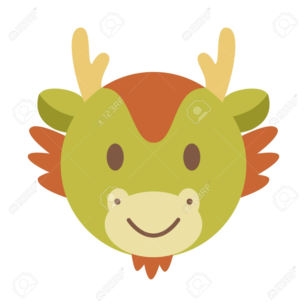 cute dragon face, chinese zodiac vector cartoon.