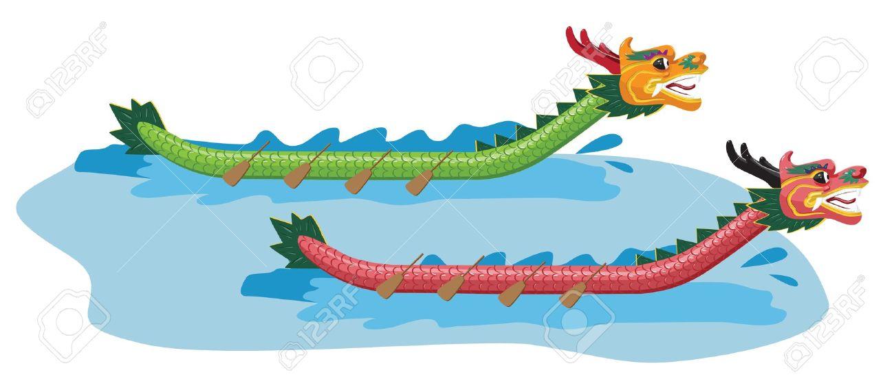 Dragon boat racing clipart.