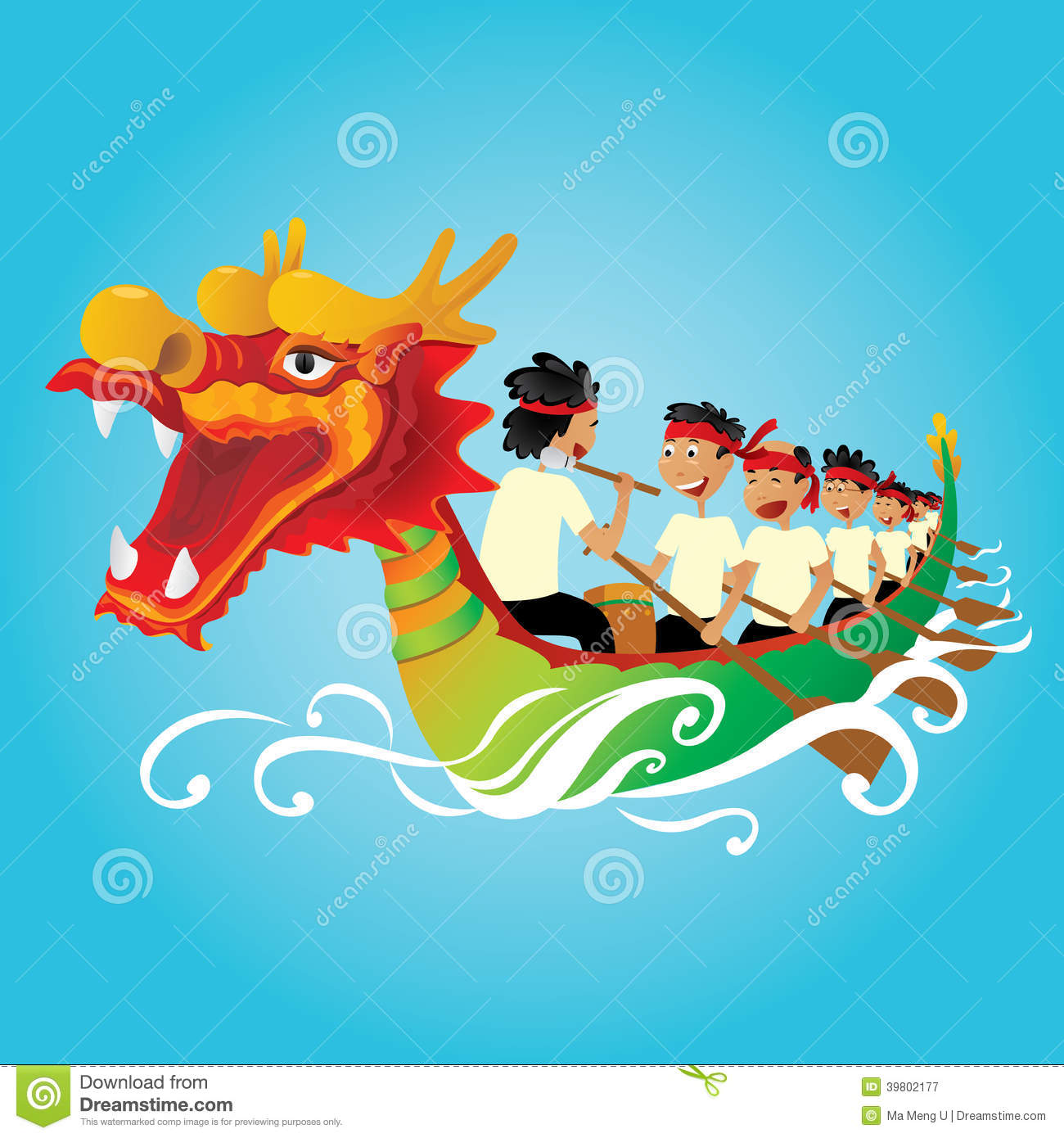 Chinese Dragon Boat Competition Illustration Stock Vector.
