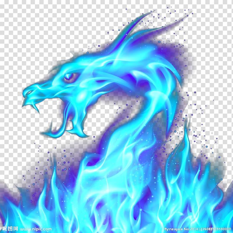 Blue flame dragon , Dragon Fire Blue Illustration, Blue Dragon.