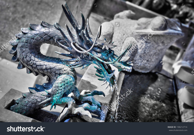 Bronze Dragon Fountain Japanese Shinto Shrine Stock Photo.