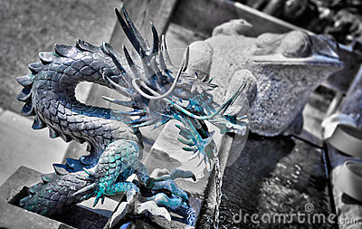 Japanese Dragon Fountain Royalty Free Stock Photo.