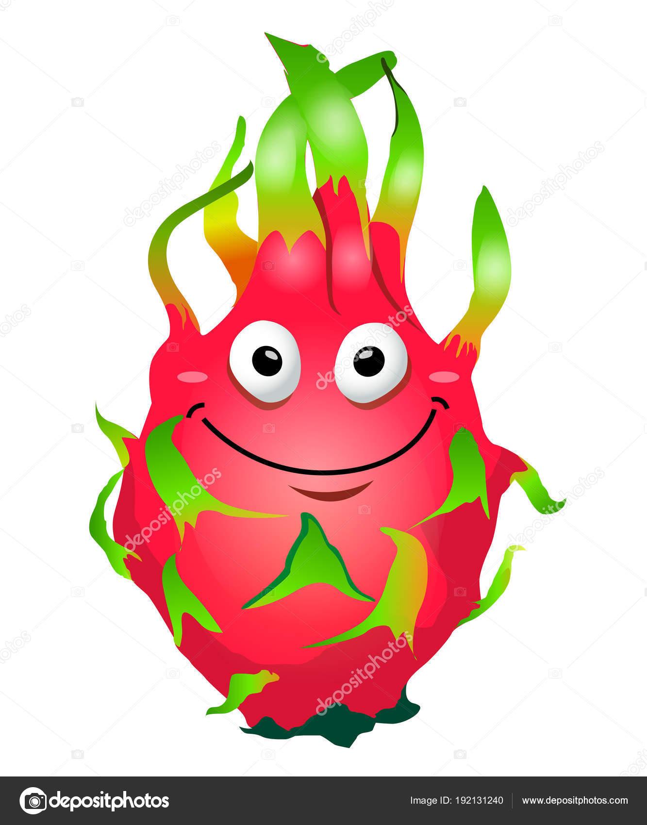 Cartoon fun dragon fruit character. Pitaya. Vector illustration.
