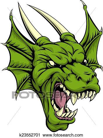 Dragon head illustration Clipart.