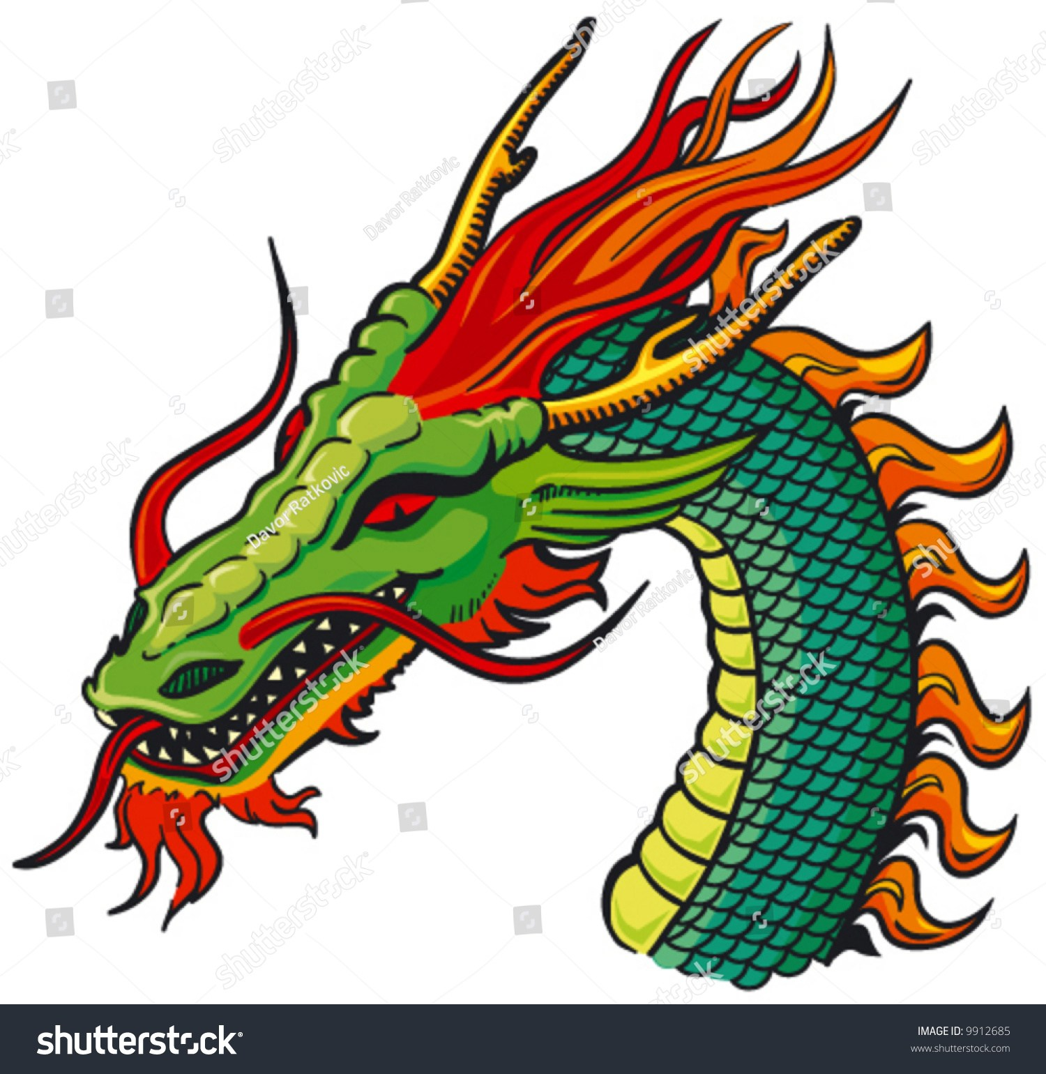 Chinese Dragon Head Clipart Coloring Page.