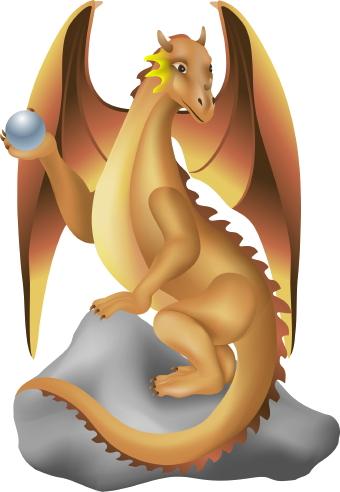 Dragon On Rock clip art.