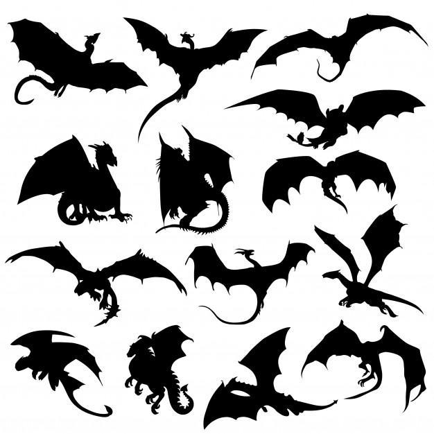Dragon mithogoly animal silhouette clip art vector Vector.