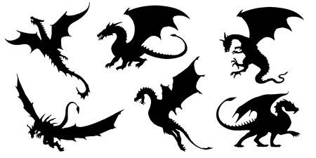 8,728 Dragon Silhouette Stock Illustrations, Cliparts And Royalty.