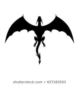 Dragon Vector Silhouette. Strong Black D #95669.