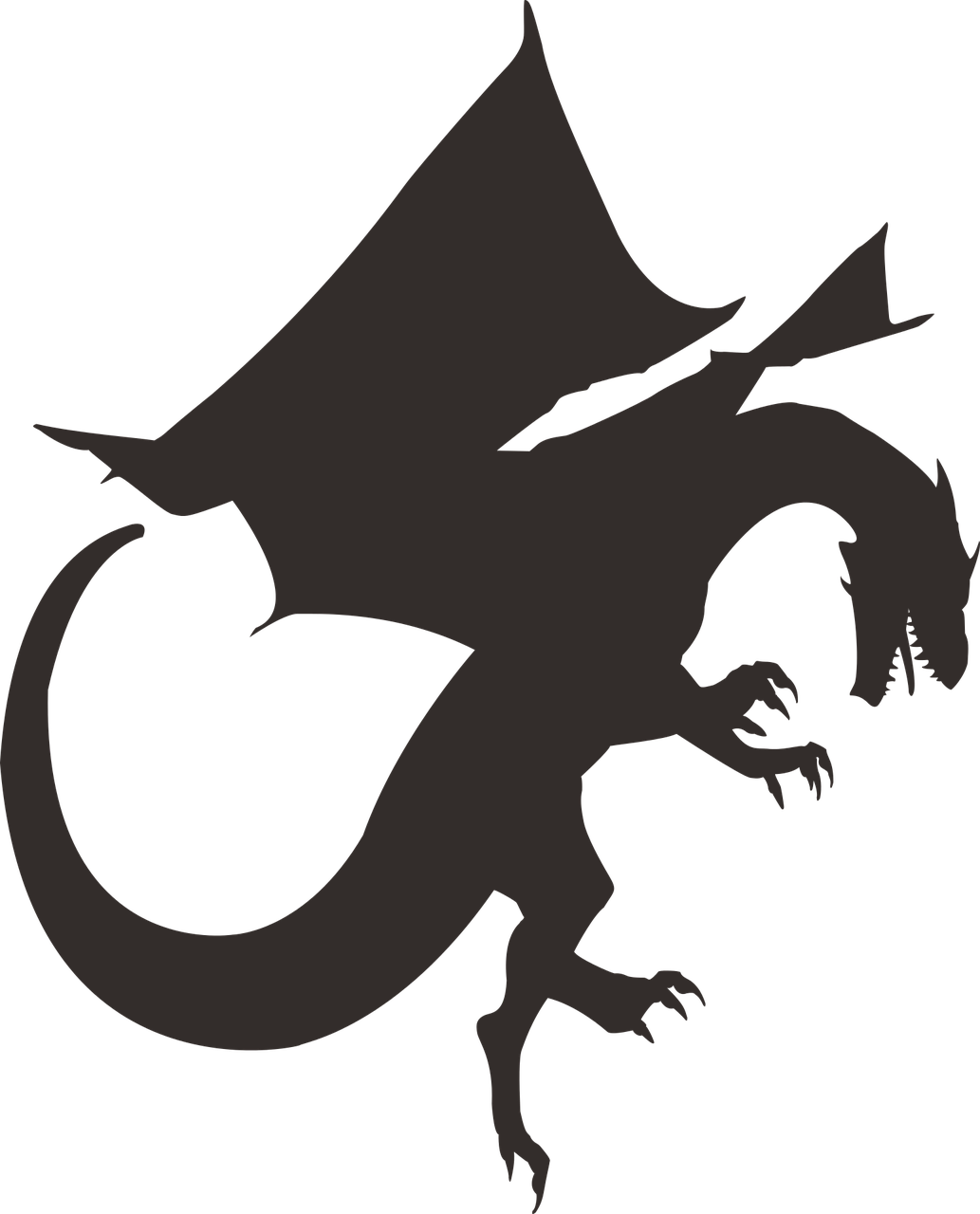 Dragon Silhouette Black PNG.
