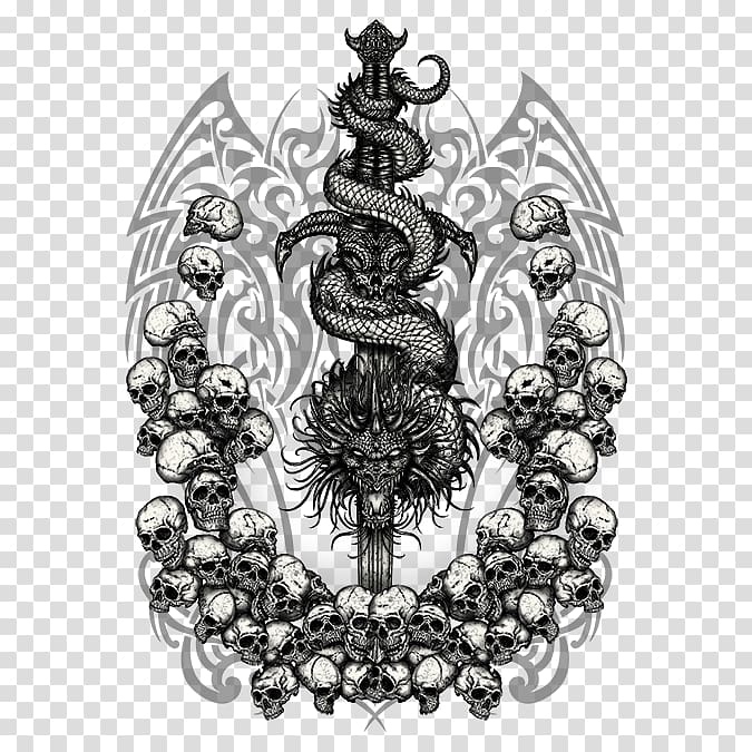 Tattoo Sword Samurai , dragon skull transparent background.