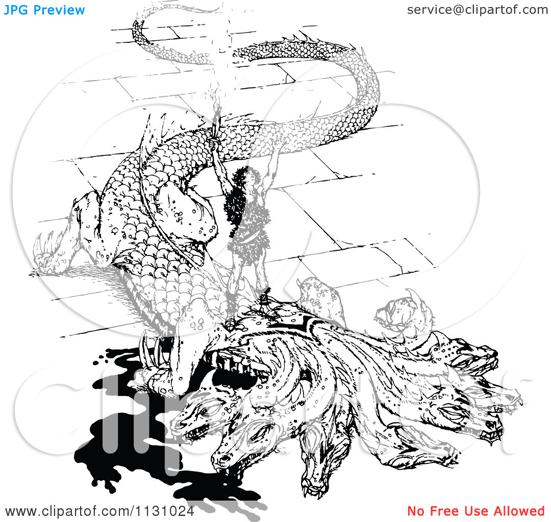 Clipart Of A Retro Vintage Black And White Dragon Slayer.