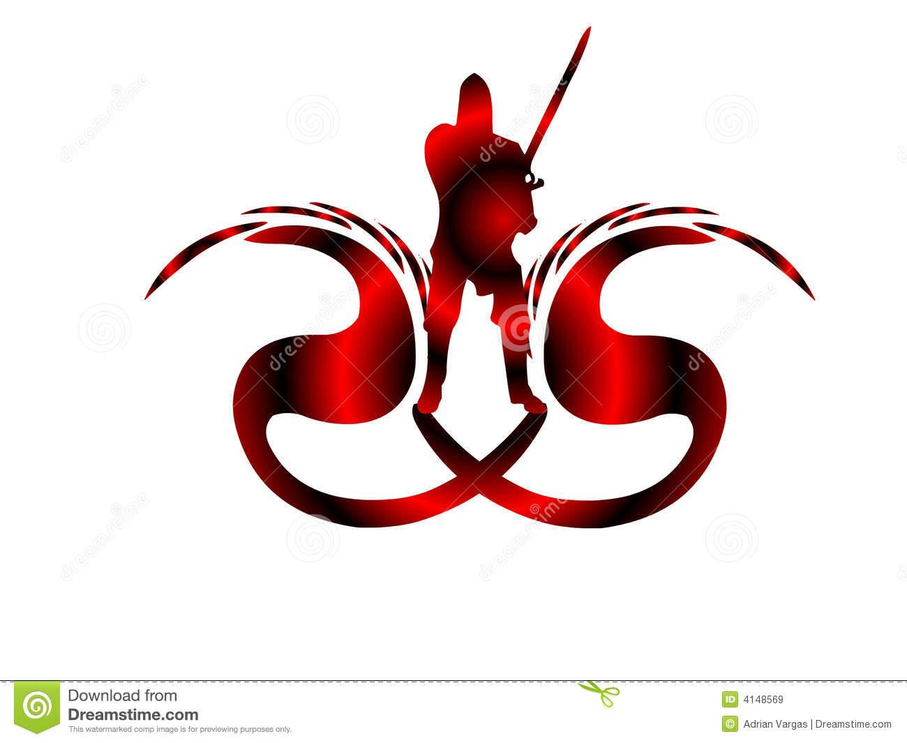 Dragon Slayer Logo Royalty Free Stock Images.