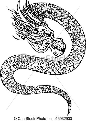 Vector Clipart of chinese dragon.
