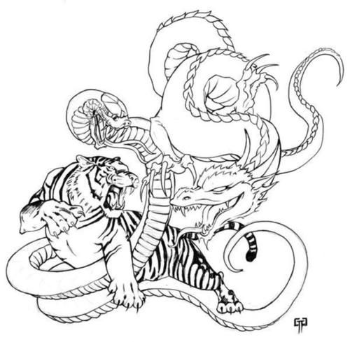 Year of tiger dragon clipart black.