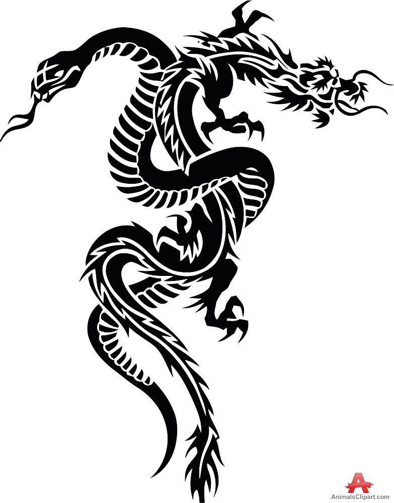 Snake and Dragon Tribal Tattoo Clipart and Design.